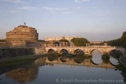 Historic St Angel Castle And Bridge Rome Italy