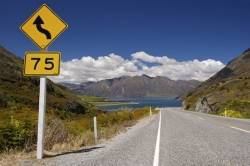 Road Sign Lake Hawea New Zealand