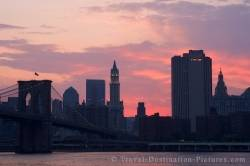 Skyline Of Manhattan New York At Dusk