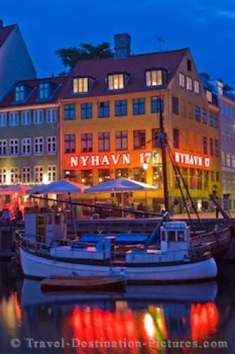 Copenhagen Dusk Nyhavn Canal Entertainment District Denmark