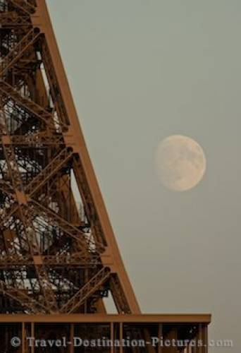 Picture Of The Eiffel Tower And Moon Paris France