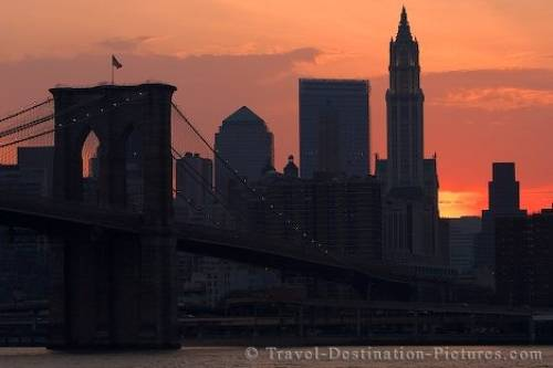 new york city skyline at sunset. Manhattan Skyline At Sunset
