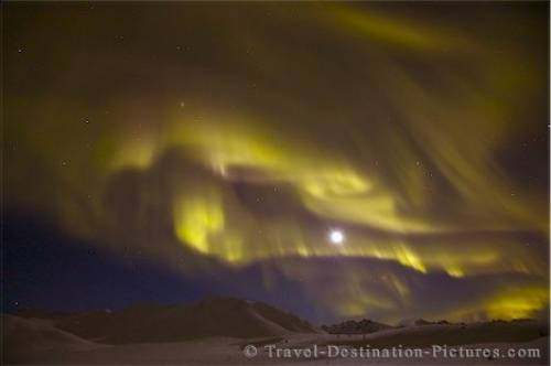 Northern Lights Moon Dempster Highway Yukon