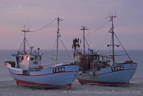 photo of Picture Of Fishing Boats At Sunset Denmark Image