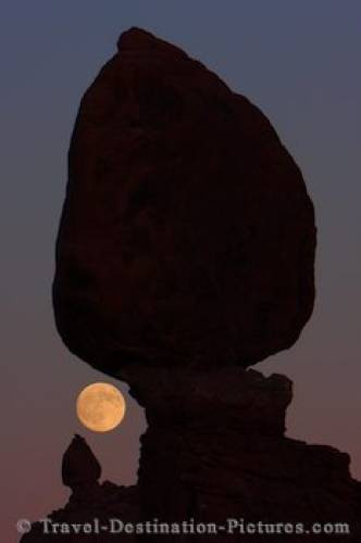 Silhouetted Balanced Rock Dusk Photo